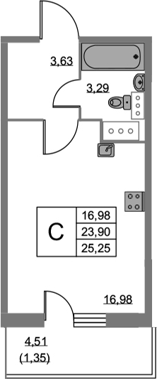 Студия 28 м<sup>2</sup> на 19 этаже
