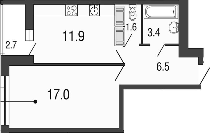 1-комнатная 43 м<sup>2</sup> на 24 этаже