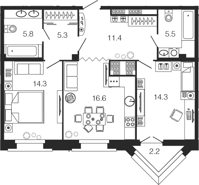 3-комнатная 75 м<sup>2</sup> на 6 этаже