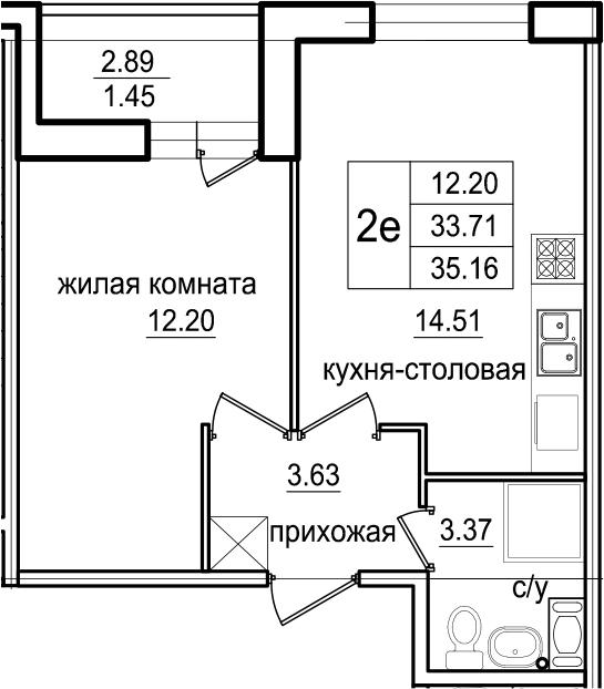 2-к.кв (евро), 36.61 м²