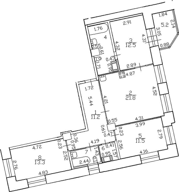 4-комнатная 87 м<sup>2</sup> на 3 этаже