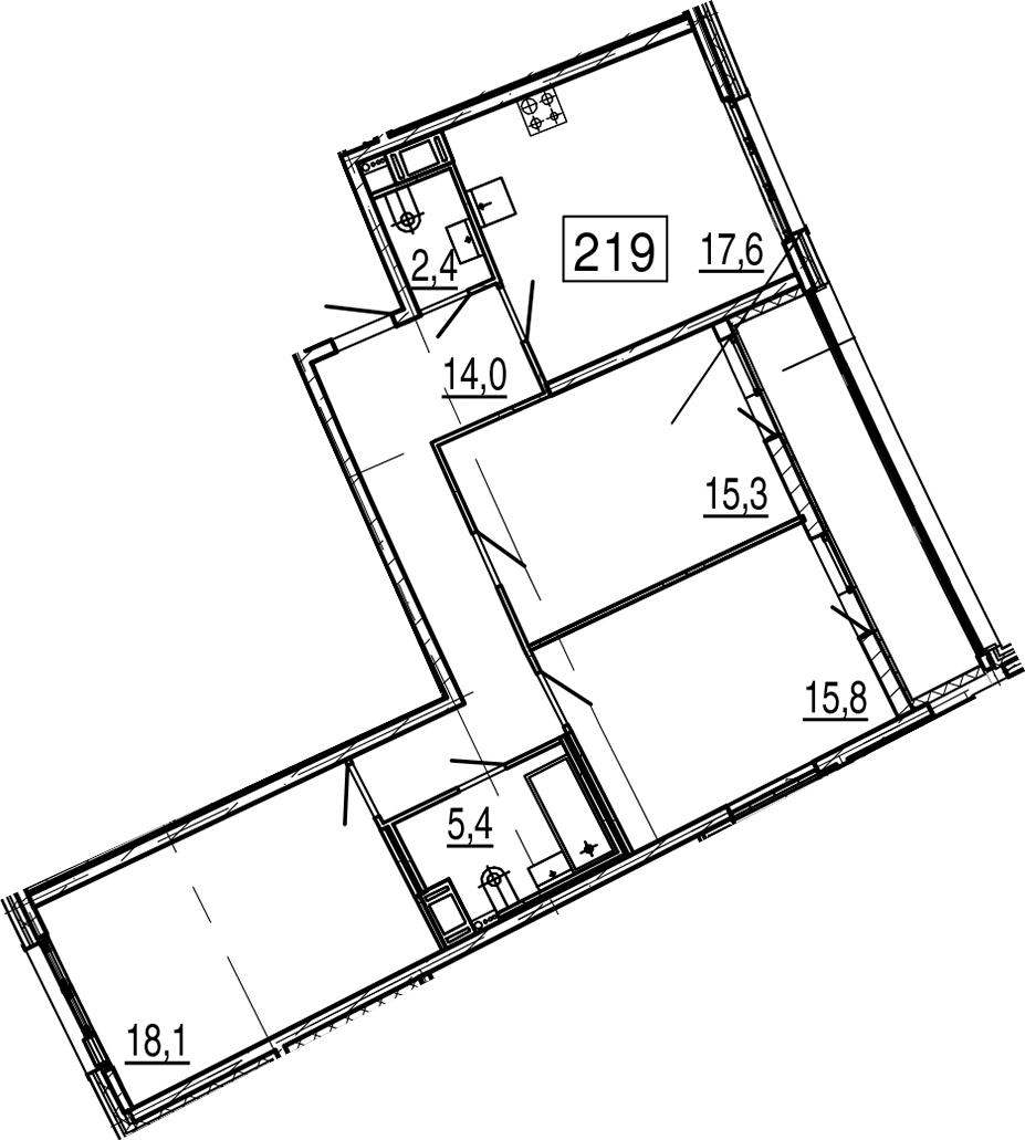 4-комнатная 96 м<sup>2</sup> на 7 этаже