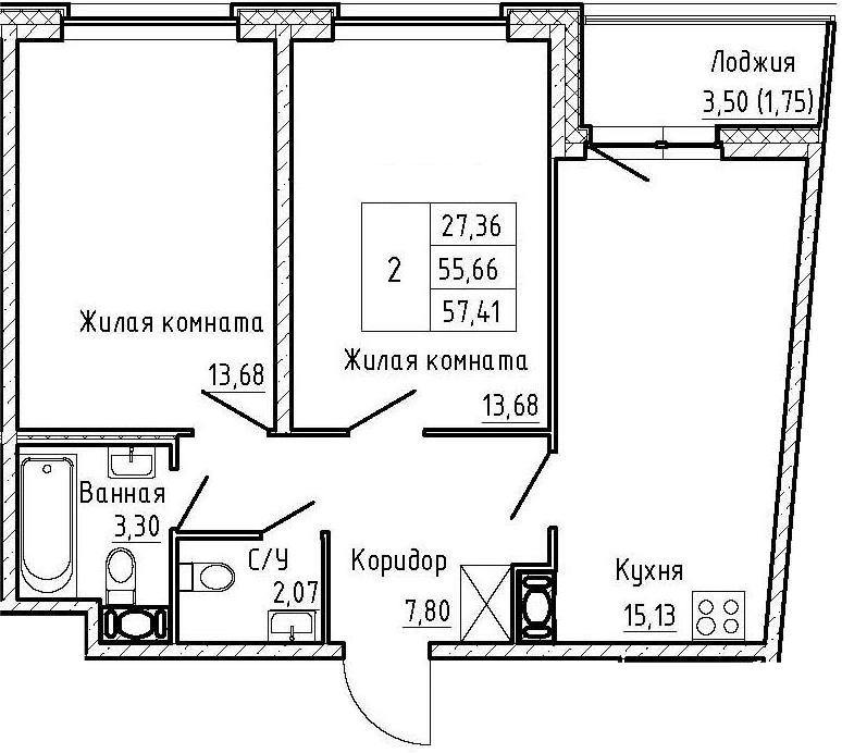 3-комнатная 59 м<sup>2</sup> на 5 этаже