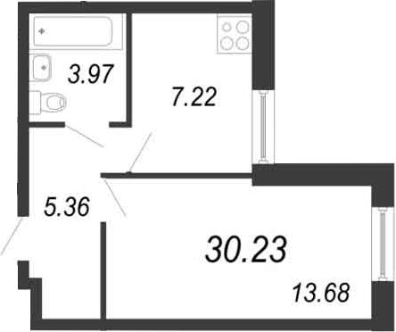 1-к.кв, 30.23 м²