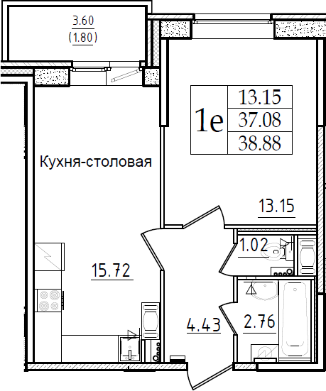 2-комнатная 40 м<sup>2</sup> на 2 этаже