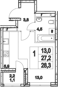 Студия, 29.4 м²