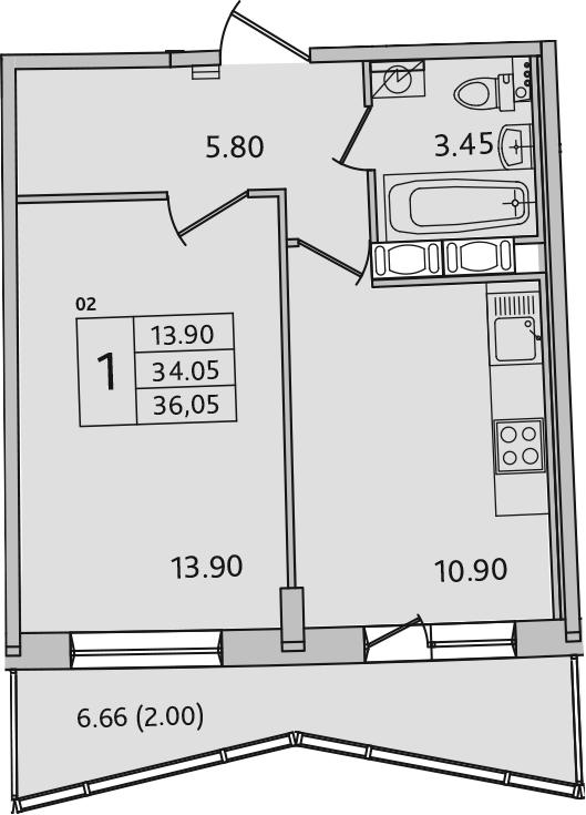 1-к.кв, 37.35 м²