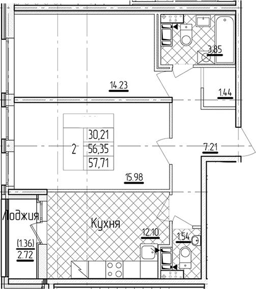 2-комнатная 59 м<sup>2</sup> на 7 этаже