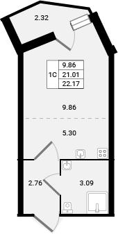 Студия, 23.33 м²