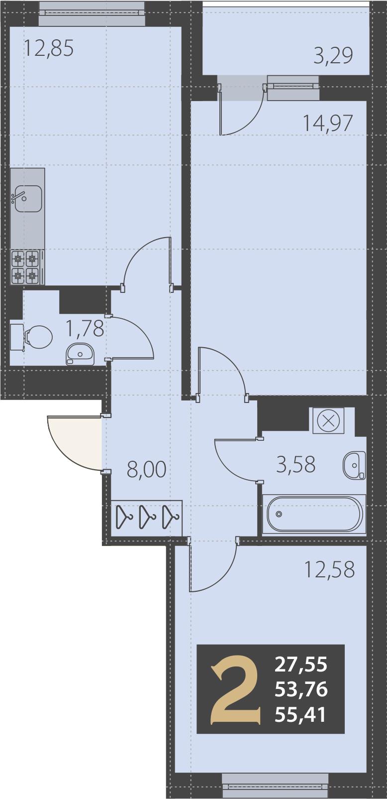 2-комнатная 57 м<sup>2</sup> на 5 этаже