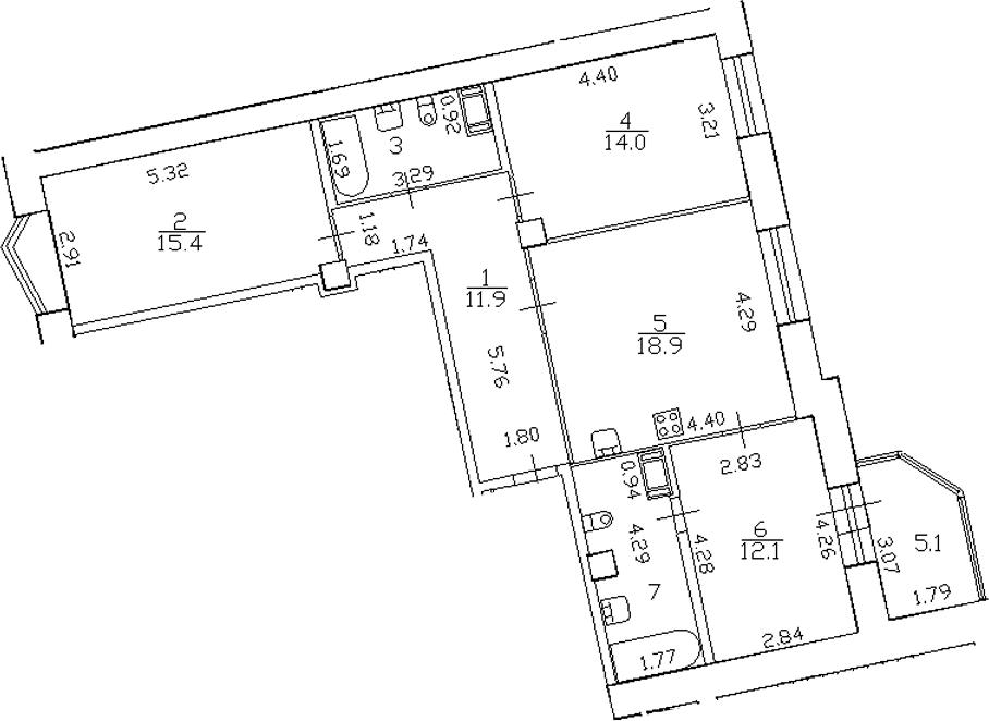 4-комнатная 88 м<sup>2</sup> на 14 этаже