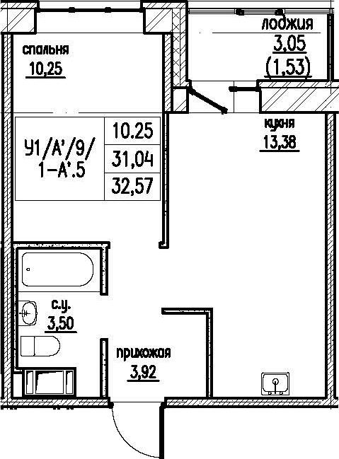 2-комнатная 34 м<sup>2</sup> на 9 этаже