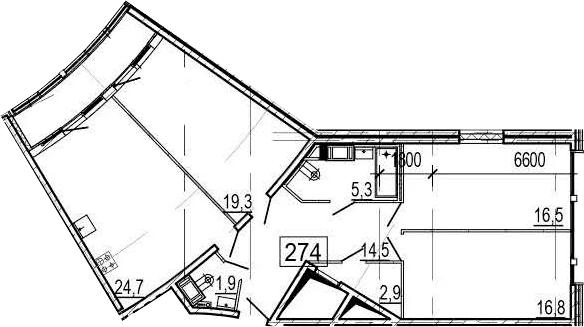 4-комнатная 108 м<sup>2</sup> на 11 этаже