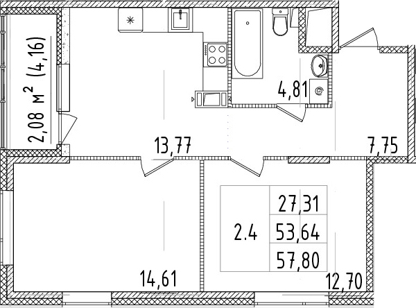 2-комнатная 57 м<sup>2</sup> на 6 этаже