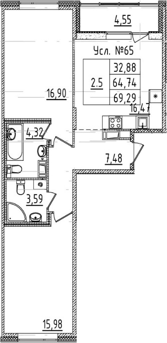 3-комнатная 69 м<sup>2</sup> на 7 этаже