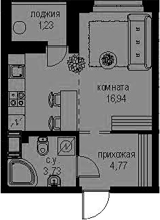 Студия 27 м<sup>2</sup> на 11 этаже