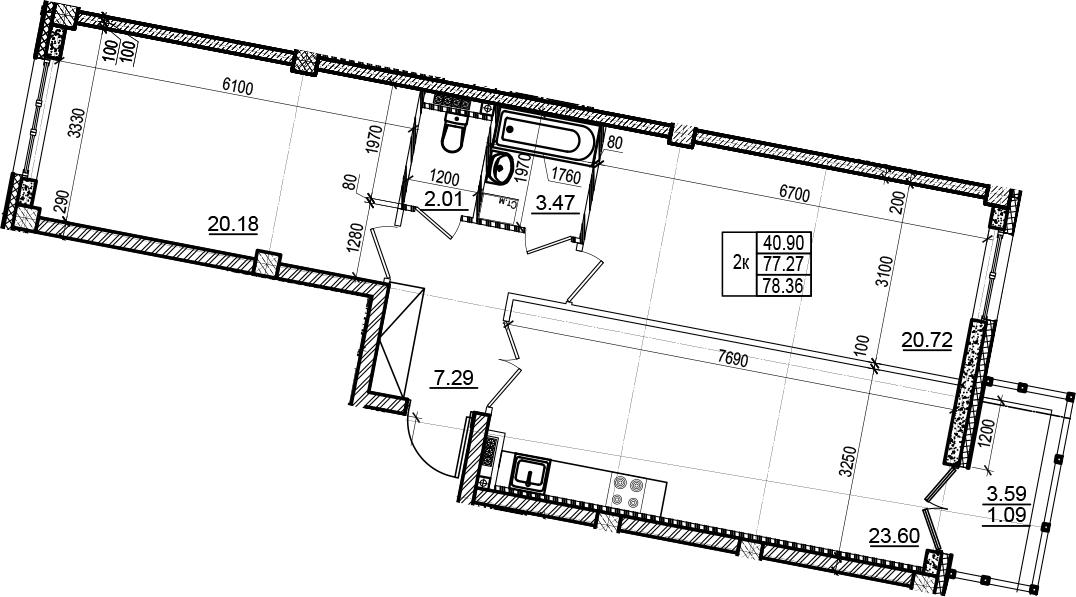 3-комнатная 80 м<sup>2</sup> на 5 этаже