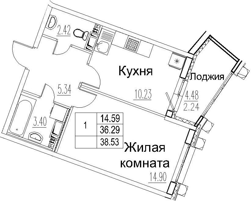1-комнатная 40 м<sup>2</sup> на 11 этаже