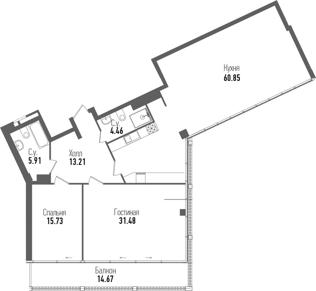 3-комнатная 146 м<sup>2</sup> на 7 этаже