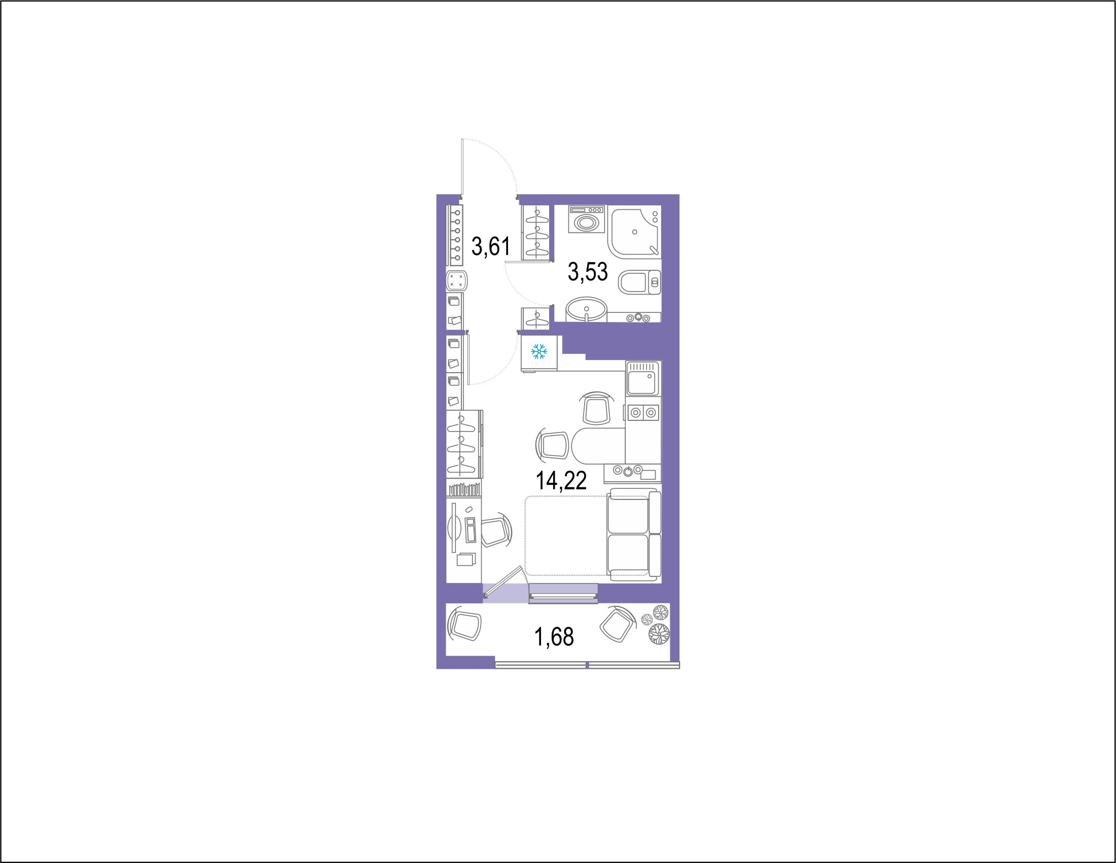 Студия 24 м<sup>2</sup> на 21 этаже