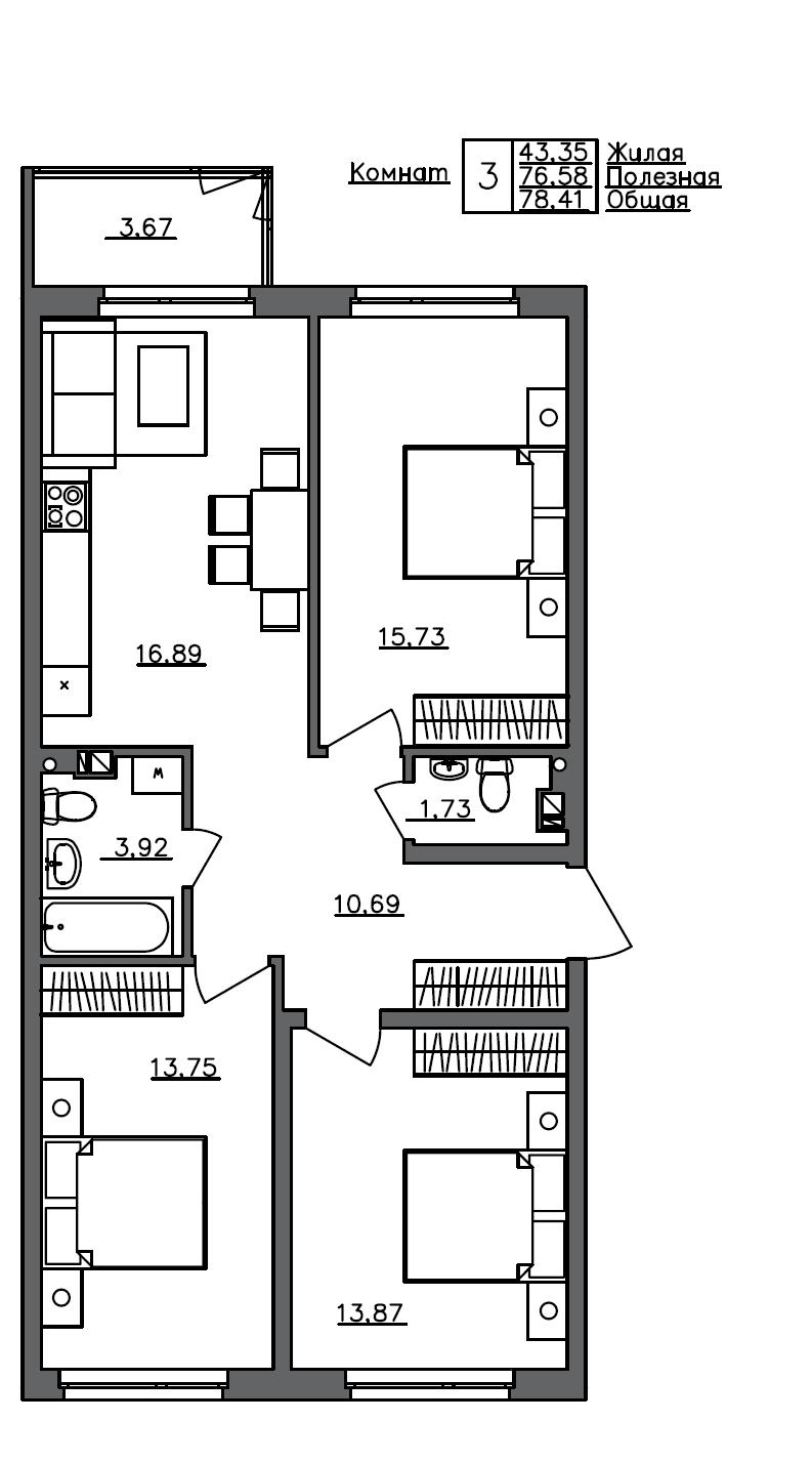 4-комнатная 80 м<sup>2</sup> на 4 этаже
