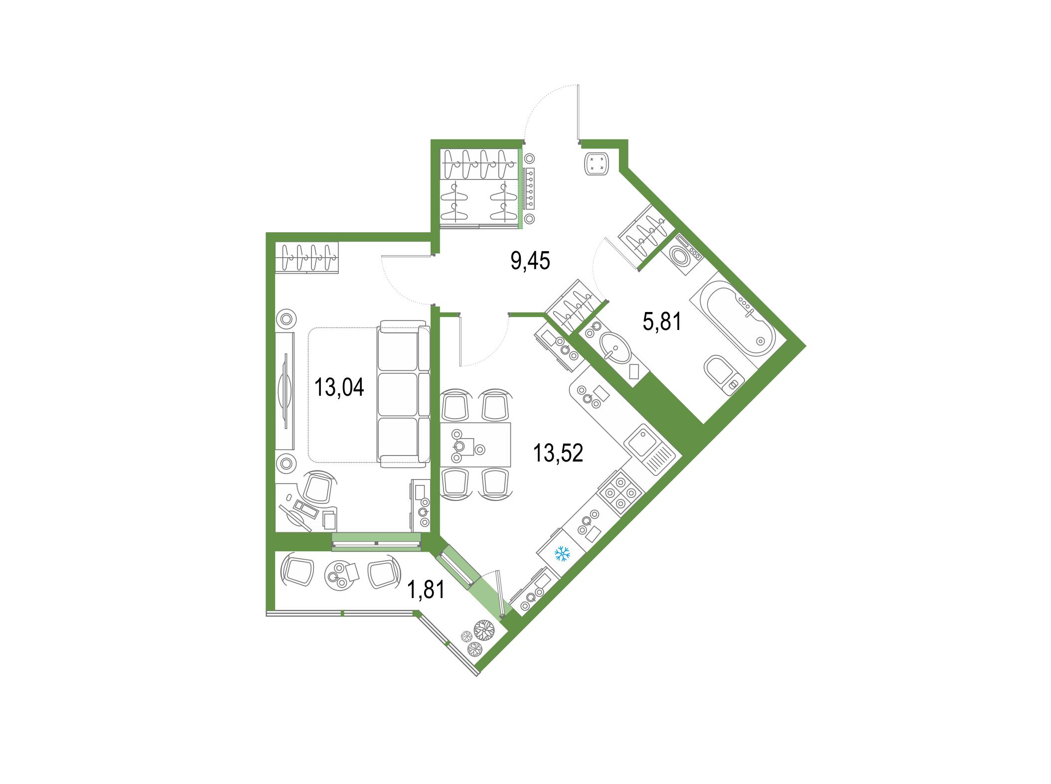 1-комнатная 45 м<sup>2</sup> на 3 этаже