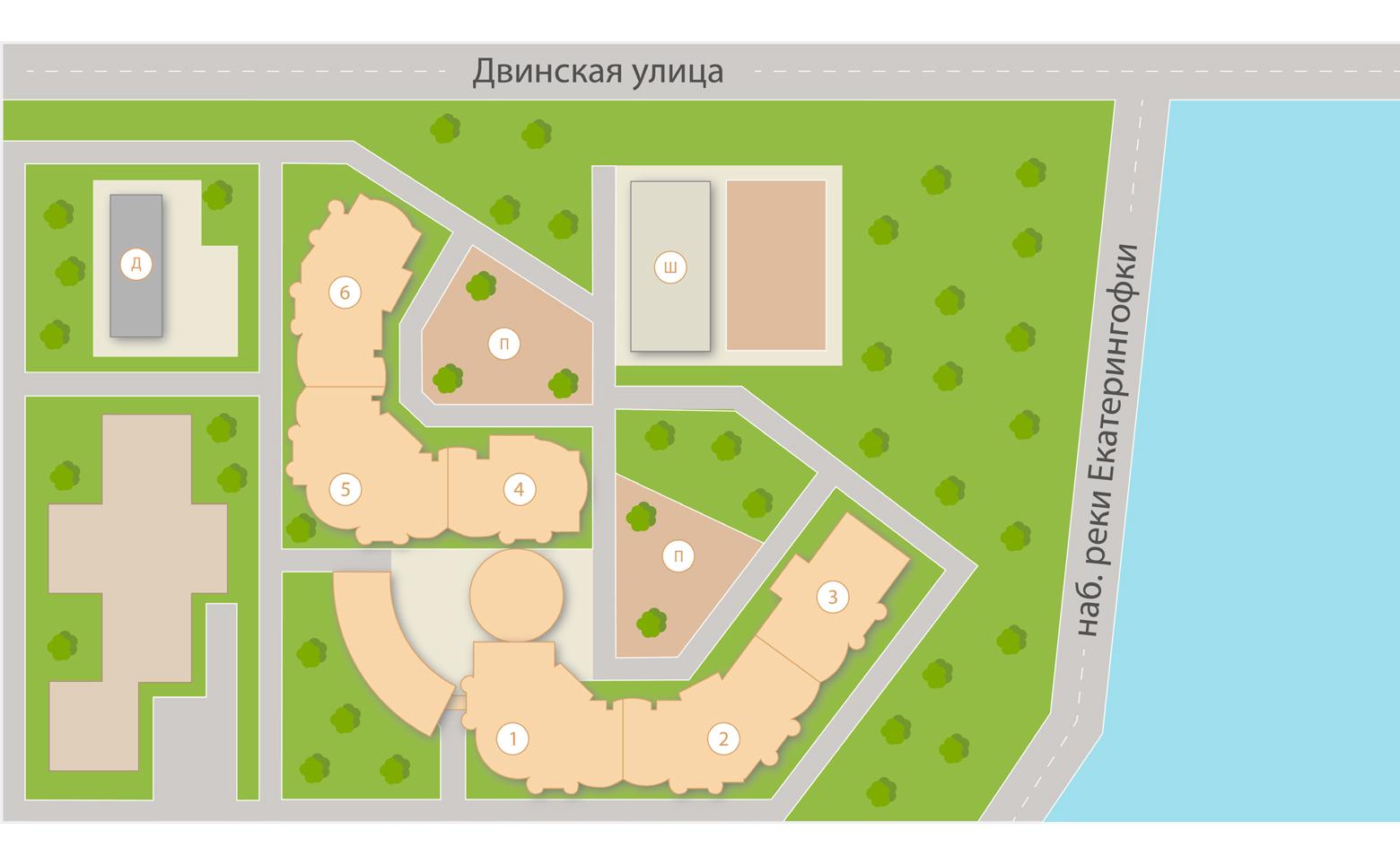 План жилого комплекса ЖК Панорамы Залива