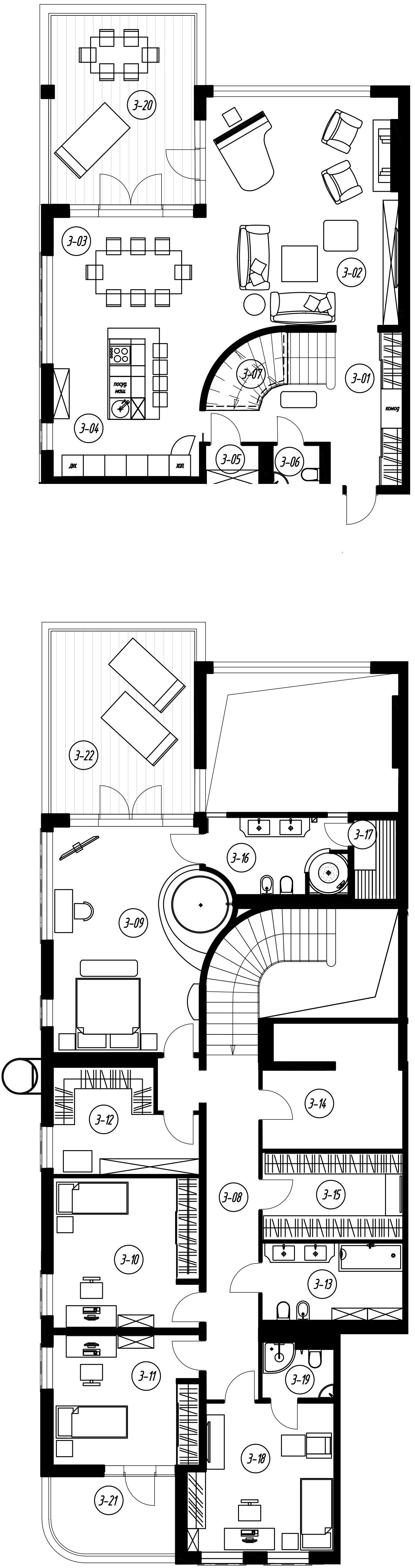 4-комнатная 335 м<sup>2</sup> на 2 этаже