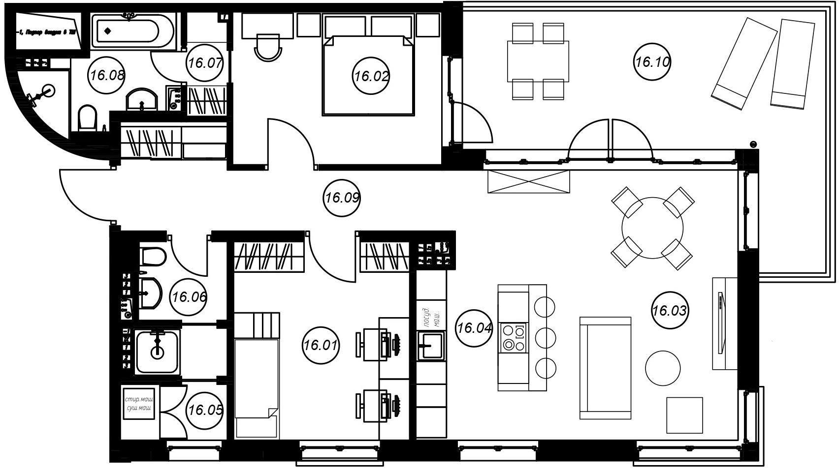 3-комнатная 104 м<sup>2</sup> на 4 этаже