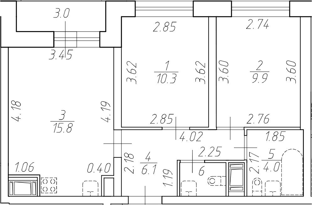 3-комнатная 50 м<sup>2</sup> на 2 этаже