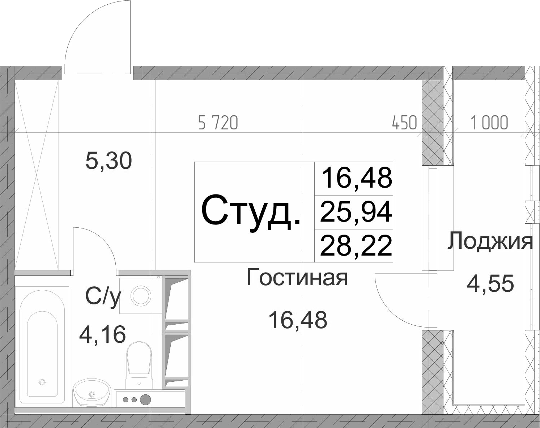 Студия 30 м<sup>2</sup> на 8 этаже