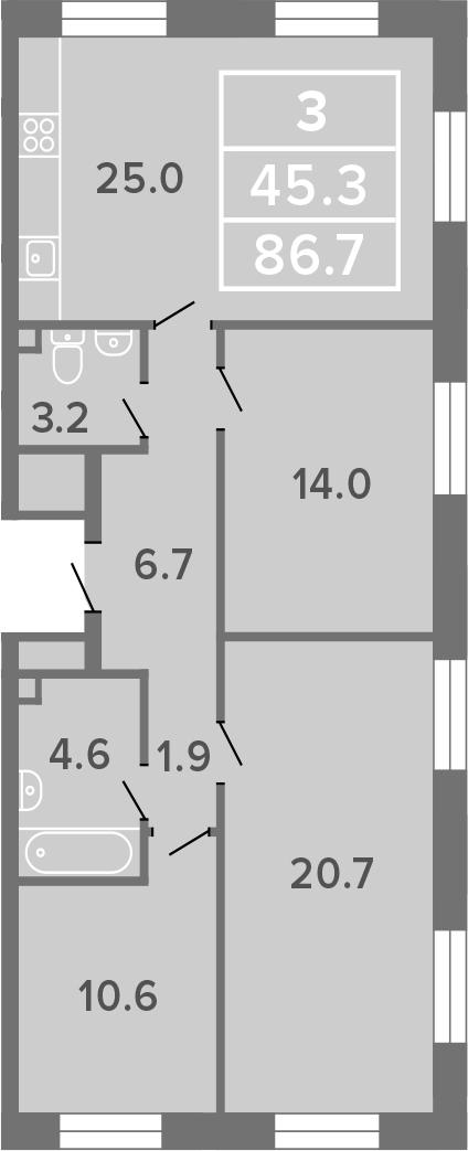 4-к.кв (евро), 86.7 м²