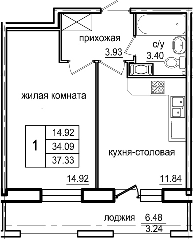 1-комнатная 40 м<sup>2</sup> на 8 этаже