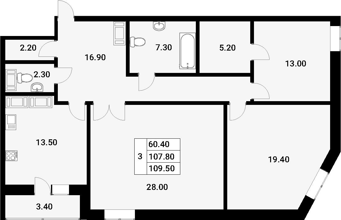 3-к.кв, 111.2 м²
