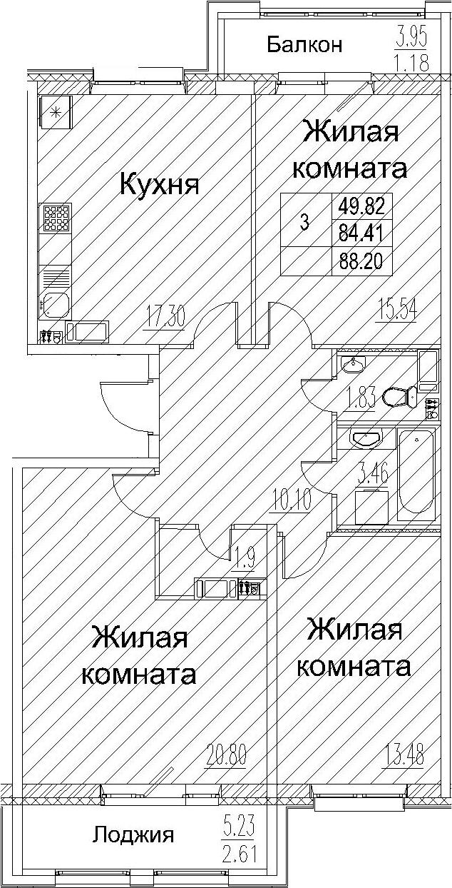 3-комнатная 93 м<sup>2</sup> на 6 этаже