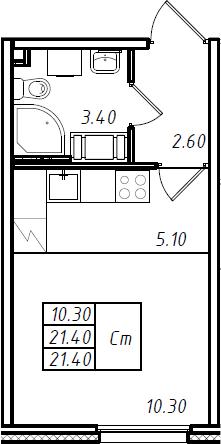 Студия 21 м<sup>2</sup> на 10 этаже