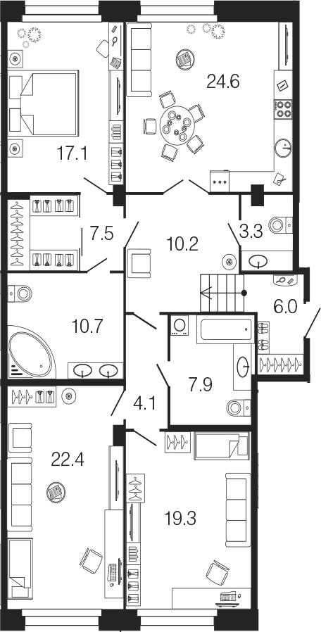 4-комнатная 133 м<sup>2</sup> на 1 этаже