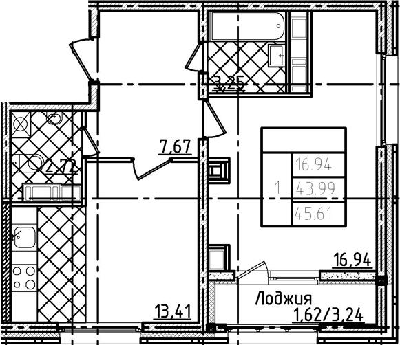1-комнатная 47 м<sup>2</sup> на 18 этаже