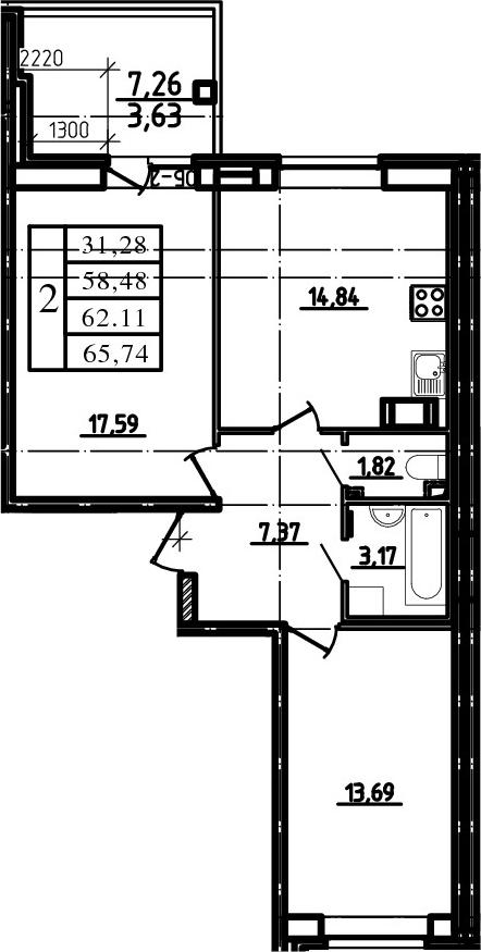 3-к.кв (евро), 65.74 м²