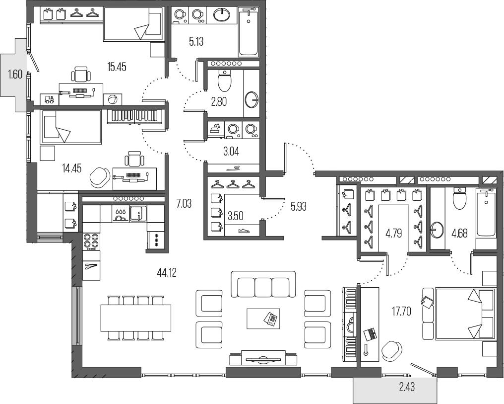 4-комнатная 132 м<sup>2</sup> на 7 этаже
