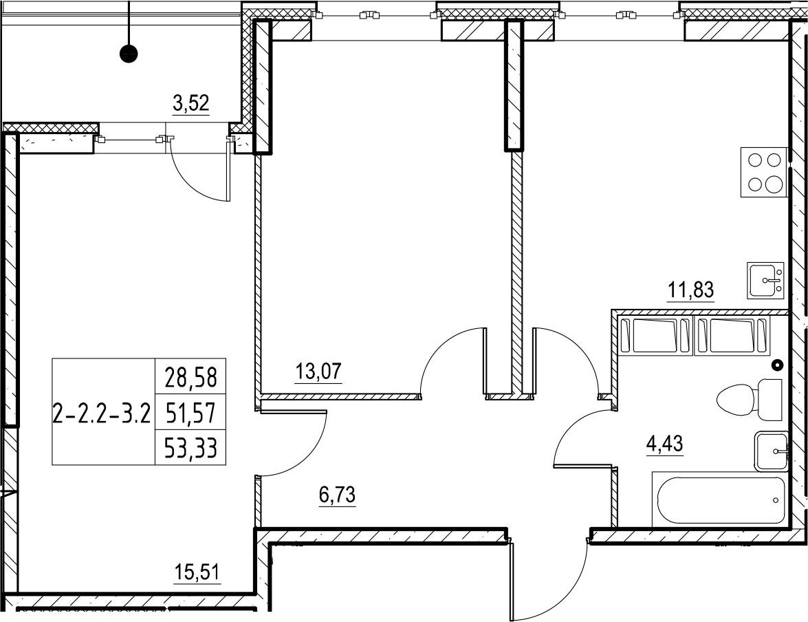 2-комнатная 55 м<sup>2</sup> на 19 этаже