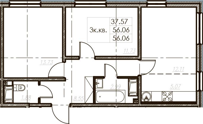 3-комнатная 56 м<sup>2</sup> на 25 этаже