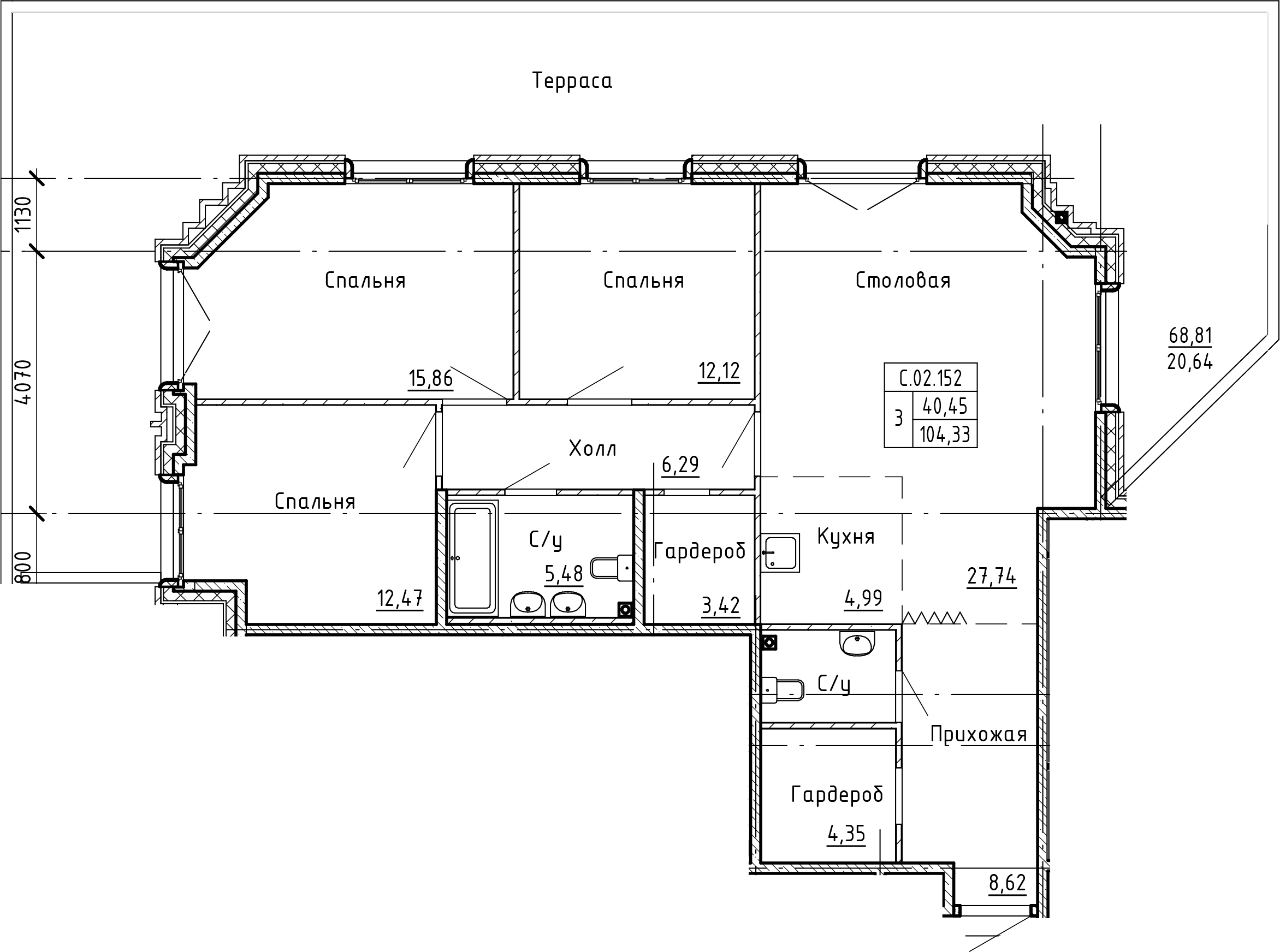 4-комнатная 173 м<sup>2</sup> на 2 этаже