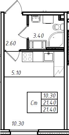 Студия 21 м<sup>2</sup> на 7 этаже