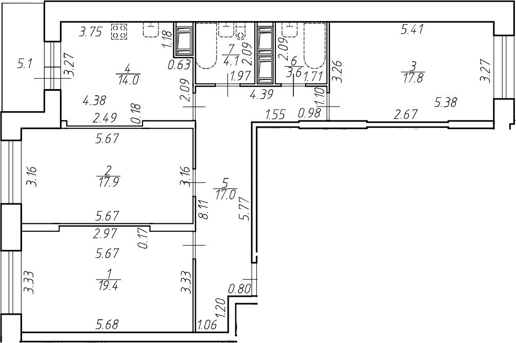 3-комнатная 98 м<sup>2</sup> на 17 этаже
