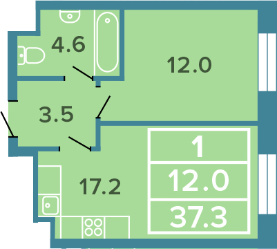 2-к.кв (евро), 37.3 м²