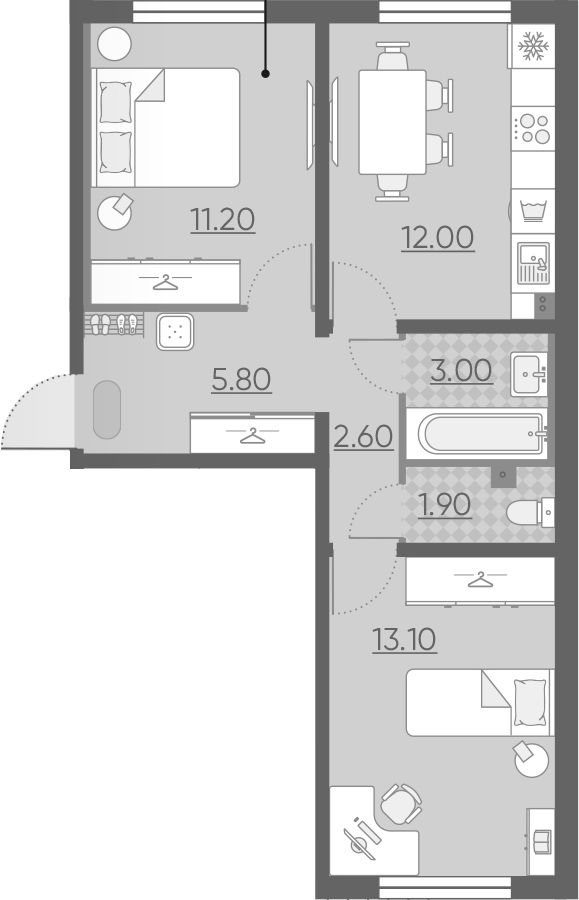 2-комнатная 49 м<sup>2</sup> на 1 этаже