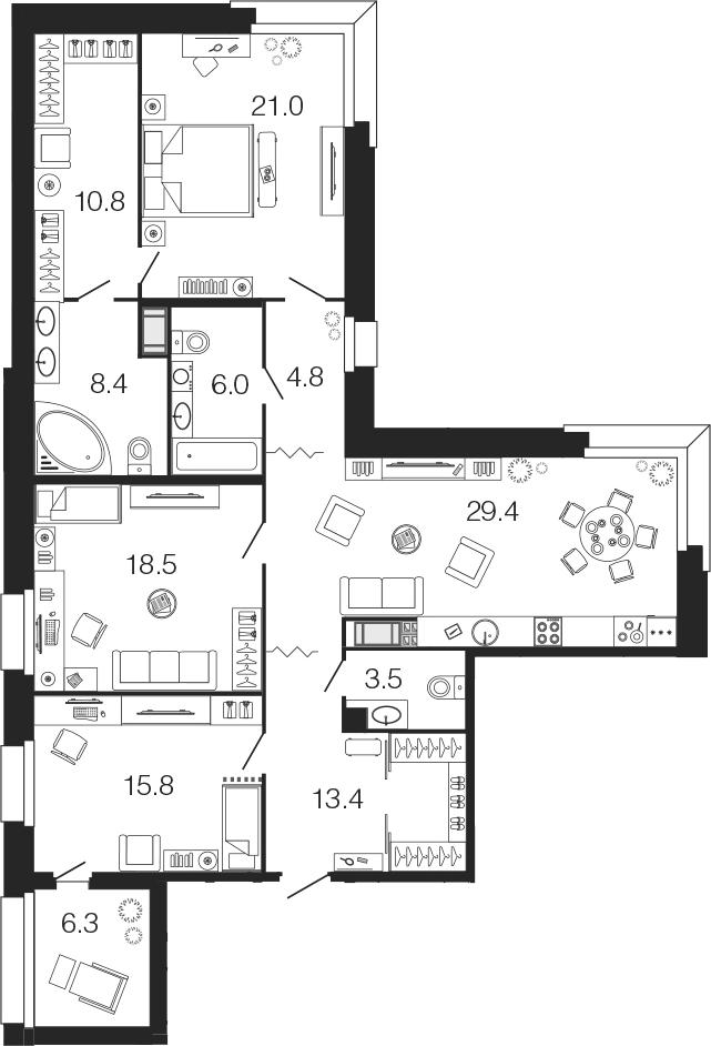 4-комнатная 137 м<sup>2</sup> на 6 этаже