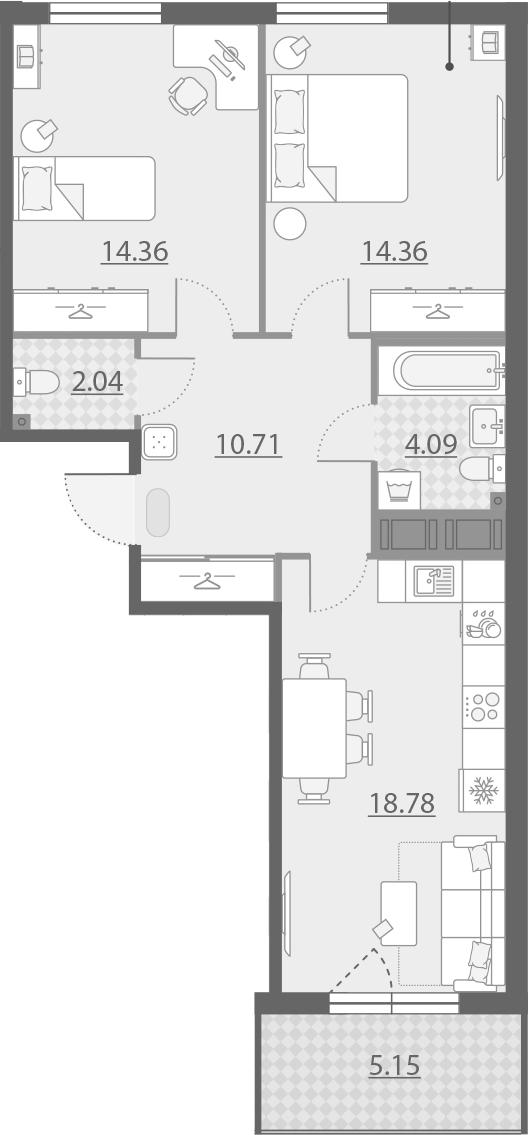 3-комнатная 69 м<sup>2</sup> на 11 этаже