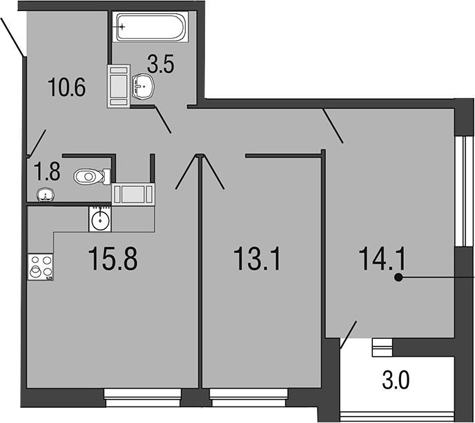3-комнатная 61 м<sup>2</sup> на 13 этаже